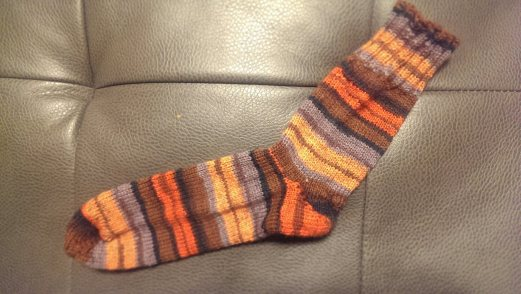 My first sock. The reason it's all alone is that I didn't yet know that you need a skein of yarn per sock. Eighteen months later it is still lonely and unfulfilled.