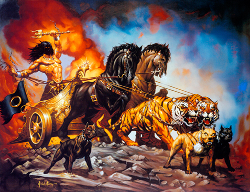 There is nothing manlier, or more metal, than a giant oily guy, wielding a trident while crossing a devastated wasteland in a tiger and pitbull drawn chariot.